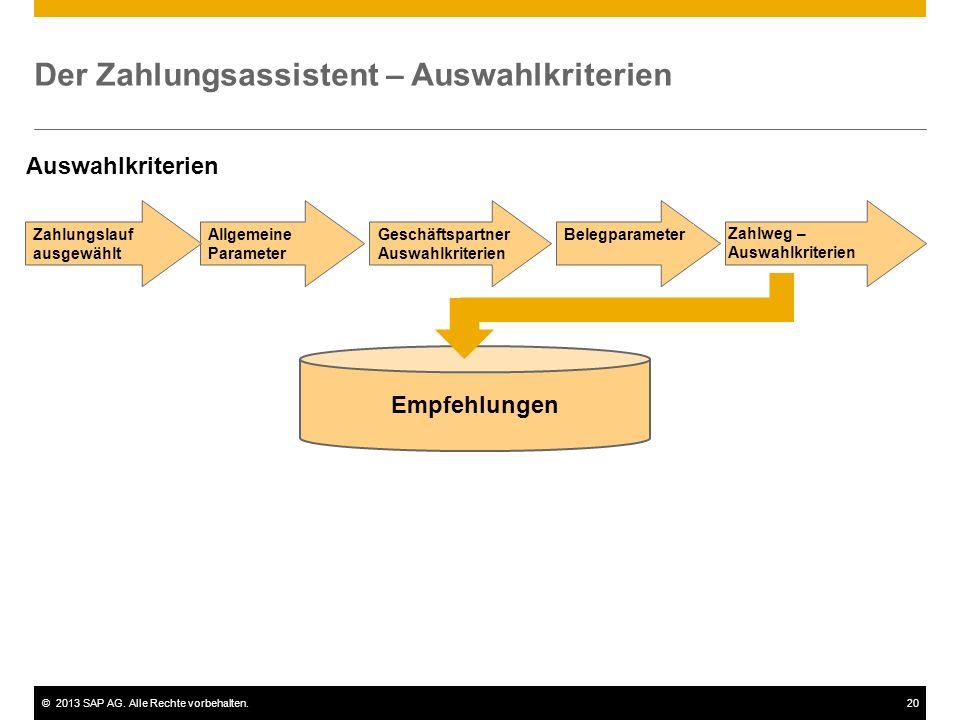 ©2013 SAP AG. Alle Rechte vorbehalten.20 Der Zahlungsassistent – Auswahlkriterien Empfehlungen BelegparameterGeschäftspartner Auswahlkriterien Allgeme