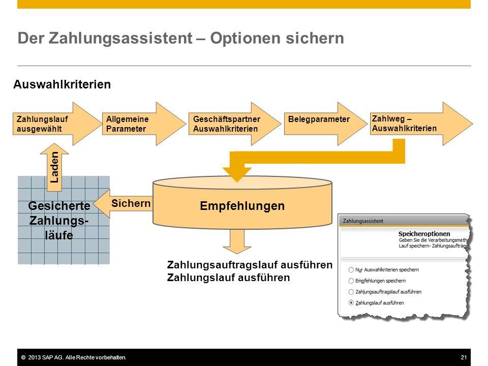 ©2013 SAP AG. Alle Rechte vorbehalten.21 Der Zahlungsassistent – Optionen sichern Auswahlkriterien Zahlungsauftragslauf ausführen Zahlungslauf ausführ