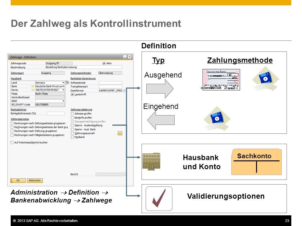 ©2013 SAP AG. Alle Rechte vorbehalten.23 Der Zahlweg als Kontrollinstrument Validierungsoptionen Ausgehend Eingehend TypZahlungsmethode Hausbank und K