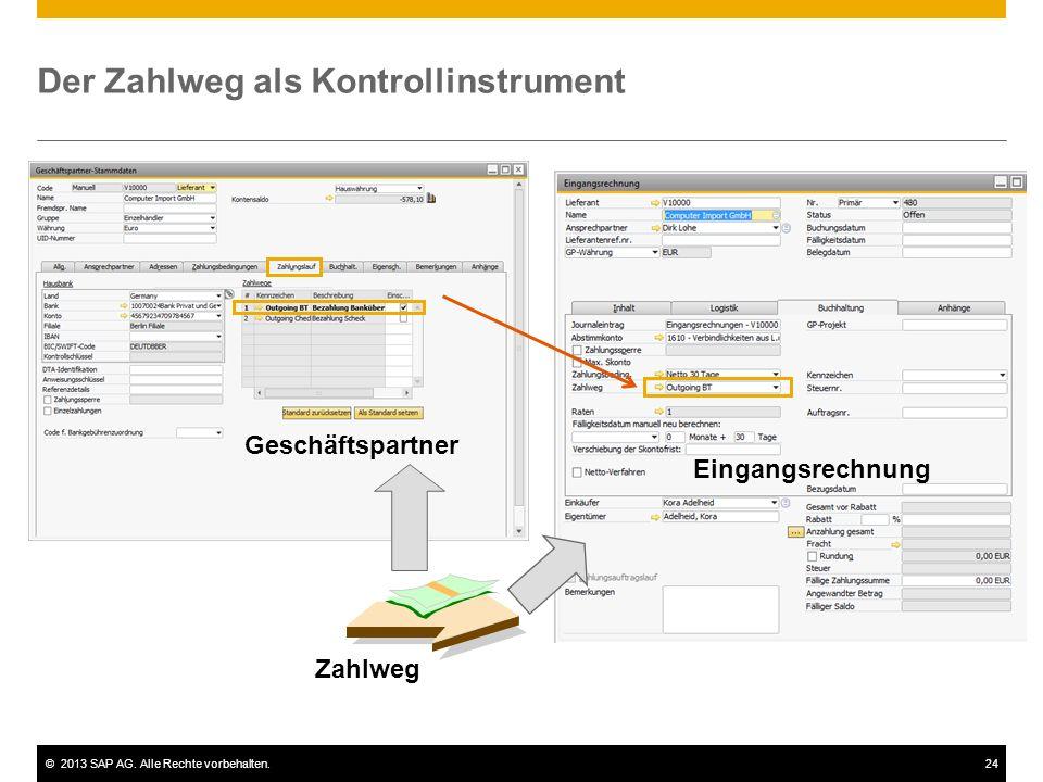 ©2013 SAP AG. Alle Rechte vorbehalten.24 Der Zahlweg als Kontrollinstrument Zahlweg Geschäftspartner Eingangsrechnung