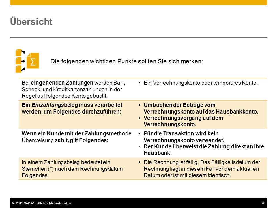 ©2013 SAP AG. Alle Rechte vorbehalten.26 Übersicht Die folgenden wichtigen Punkte sollten Sie sich merken: Bei eingehenden Zahlungen werden Bar-, Sche
