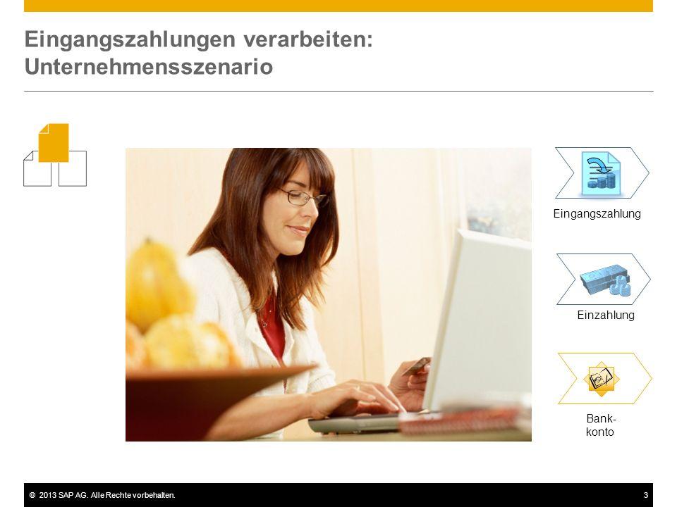 ©2013 SAP AG. Alle Rechte vorbehalten.3 Eingangszahlungen verarbeiten: Unternehmensszenario Eingangszahlung Einzahlung Bank- konto