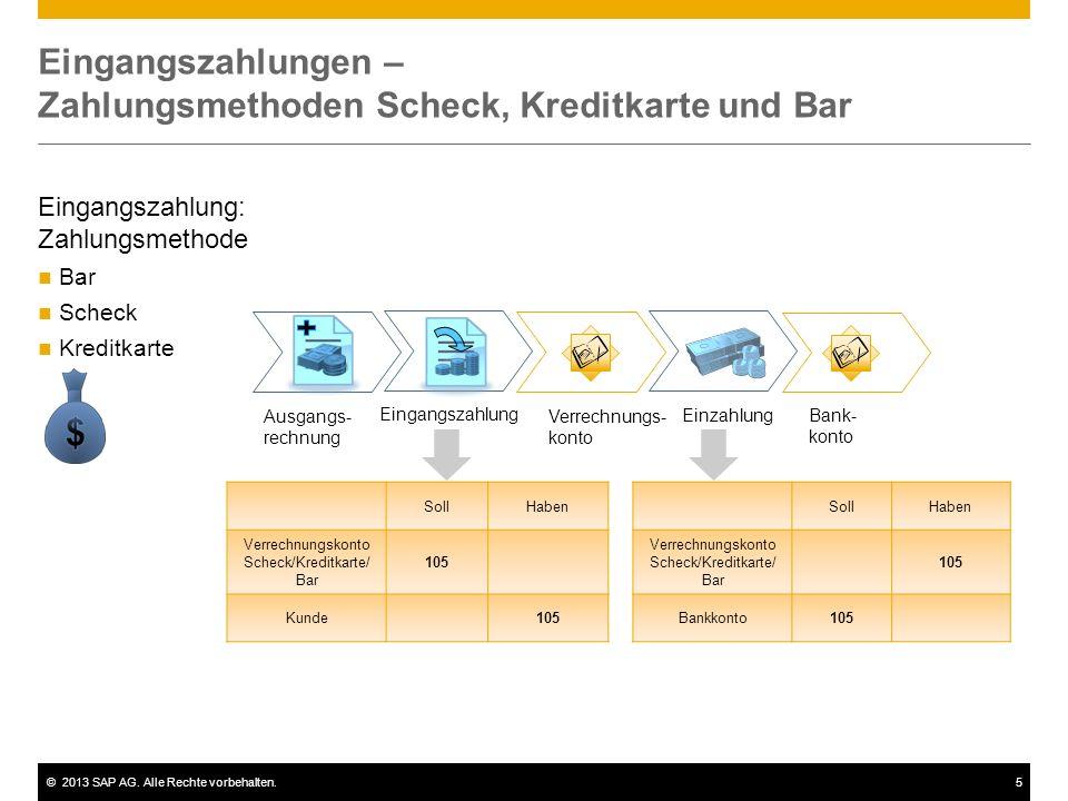 ©2013 SAP AG. Alle Rechte vorbehalten.5 Eingangszahlungen – Zahlungsmethoden Scheck, Kreditkarte und Bar SollHaben Verrechnungskonto Scheck/Kreditkart