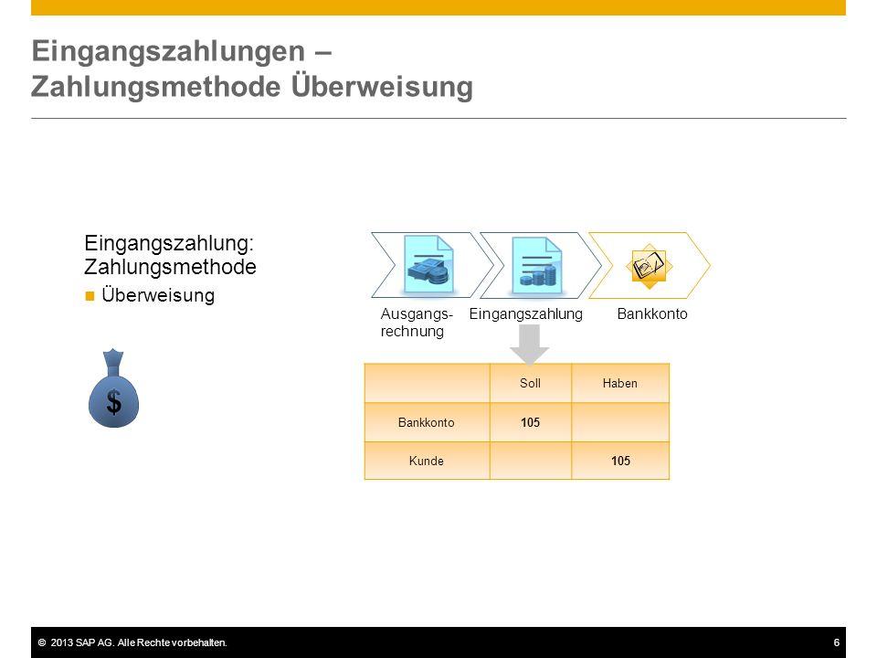 ©2013 SAP AG. Alle Rechte vorbehalten.6 Eingangszahlungen – Zahlungsmethode Überweisung Eingangszahlung: Zahlungsmethode Überweisung Eingangszahlung B