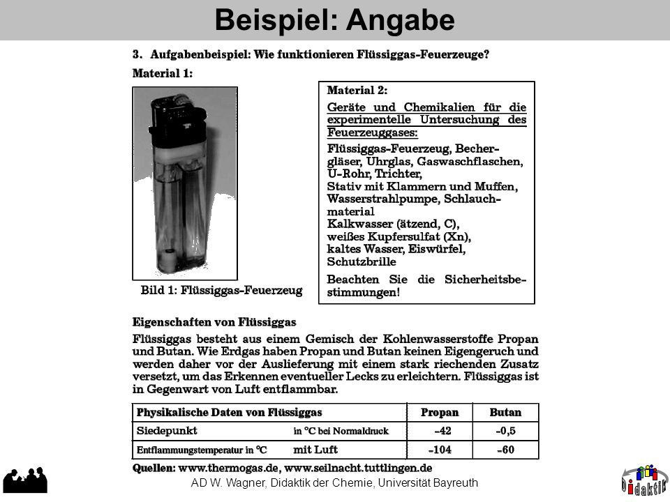 Beispiel: Angabe AD W. Wagner, Didaktik der Chemie, Universität Bayreuth