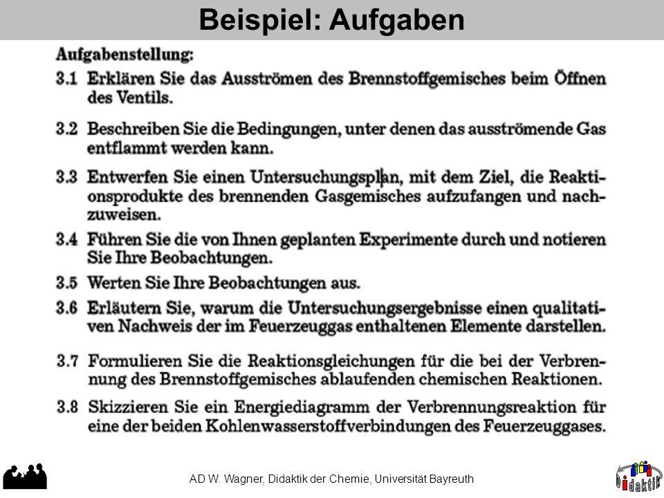 Beispiel: Aufgaben AD W. Wagner, Didaktik der Chemie, Universität Bayreuth