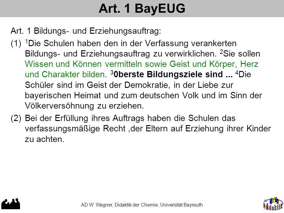 Art. 1 BayEUG AD W. Wagner, Didaktik der Chemie, Universität Bayreuth Art. 1 Bildungs- und Erziehungsauftrag: (1) 1 Die Schulen haben den in der Verfa