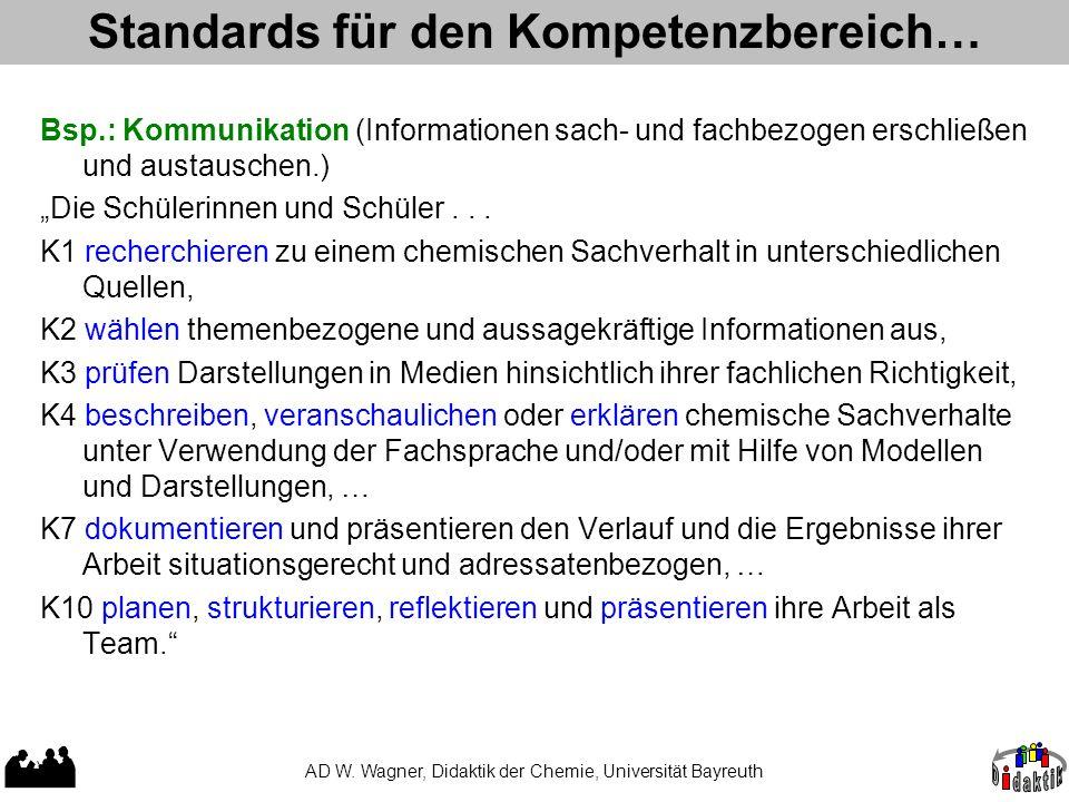 Standards für den Kompetenzbereich… AD W. Wagner, Didaktik der Chemie, Universität Bayreuth Bsp.: Kommunikation (Informationen sach- und fachbezogen e