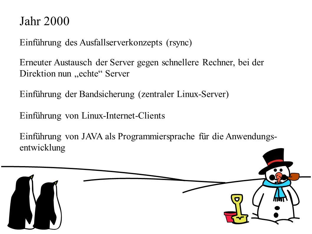 """Jahr 2000 Einführung des Ausfallserverkonzepts (rsync) Erneuter Austausch der Server gegen schnellere Rechner, bei der Direktion nun """"echte Server Einführung der Bandsicherung (zentraler Linux-Server) Einführung von Linux-Internet-Clients Einführung von JAVA als Programmiersprache für die Anwendungs- entwicklung"""