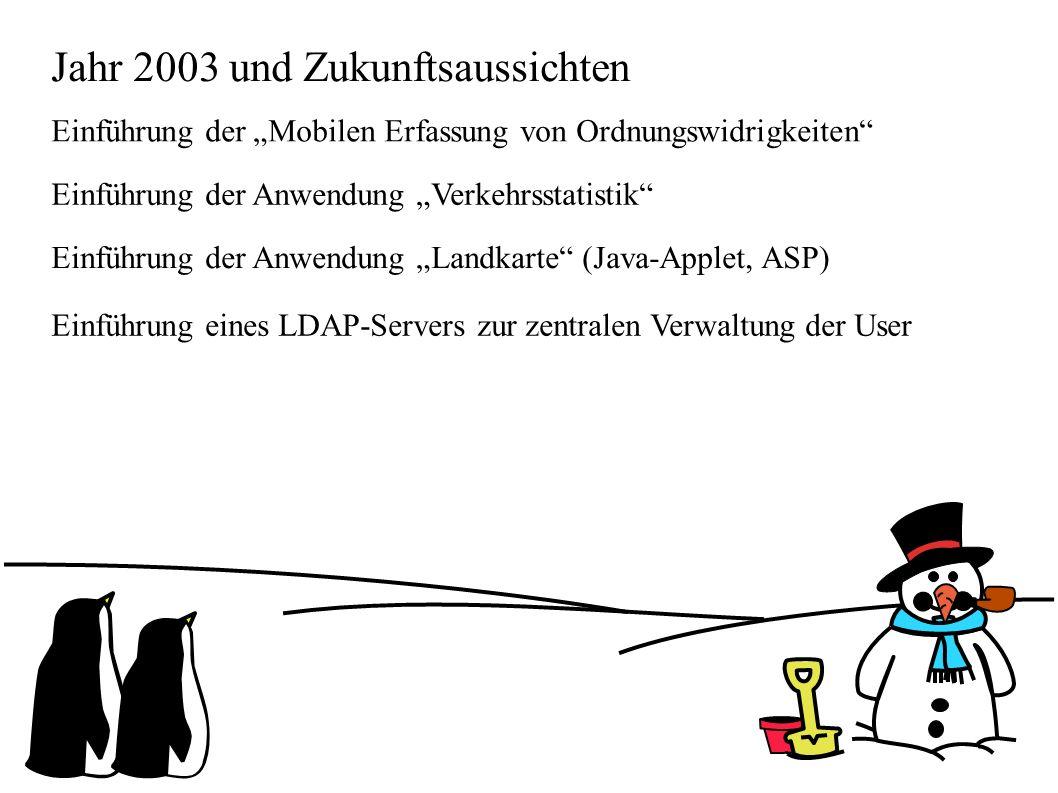"""Jahr 2003 und Zukunftsaussichten Einführung der """"Mobilen Erfassung von Ordnungswidrigkeiten Einführung der Anwendung """"Verkehrsstatistik Einführung der Anwendung """"Landkarte (Java-Applet, ASP) Einführung eines LDAP-Servers zur zentralen Verwaltung der User"""