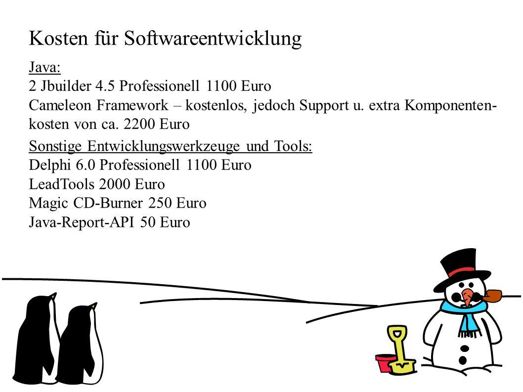 Kosten für Softwareentwicklung Java: 2 Jbuilder 4.5 Professionell 1100 Euro Cameleon Framework – kostenlos, jedoch Support u. extra Komponenten- koste
