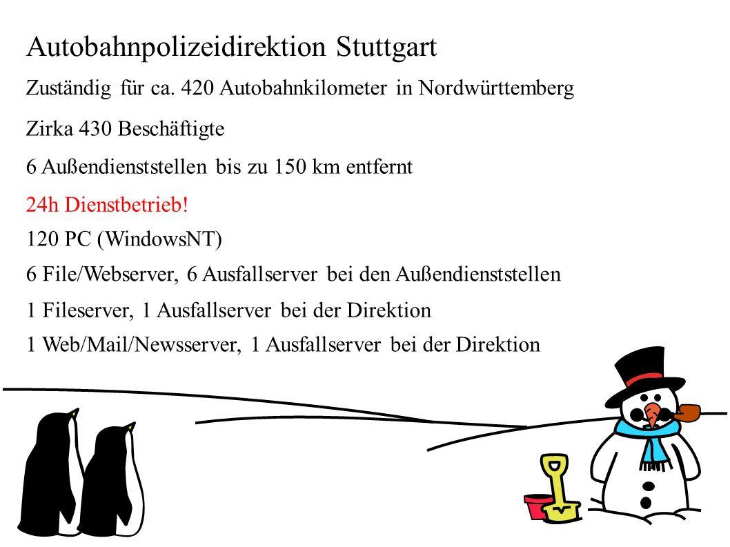 Autobahnpolizeidirektion Stuttgart Zuständig für ca. 420 Autobahnkilometer in Nordwürttemberg Zirka 430 Beschäftigte 6 Außendienststellen bis zu 150 k