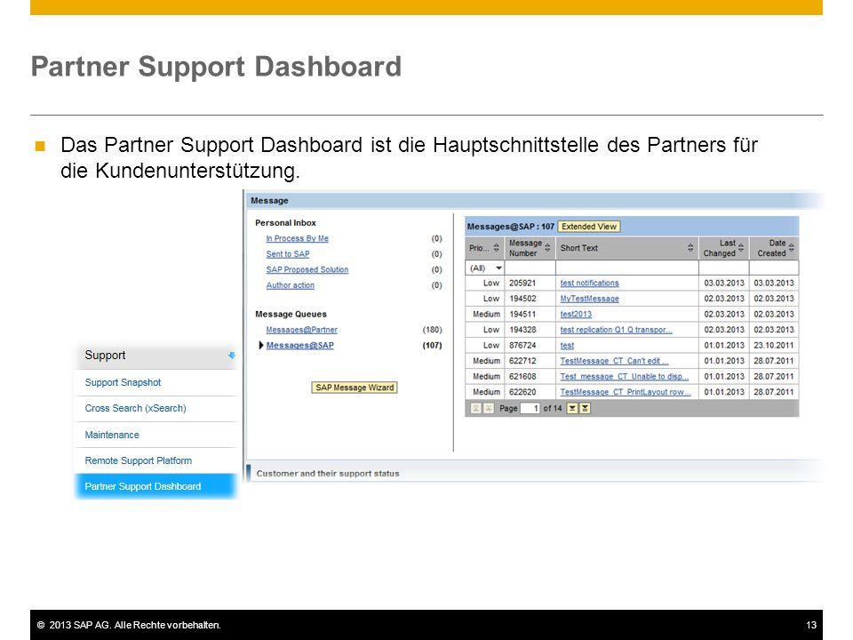 ©2013 SAP AG. Alle Rechte vorbehalten.13 Partner Support Dashboard Das Partner Support Dashboard ist die Hauptschnittstelle des Partners für die Kunde
