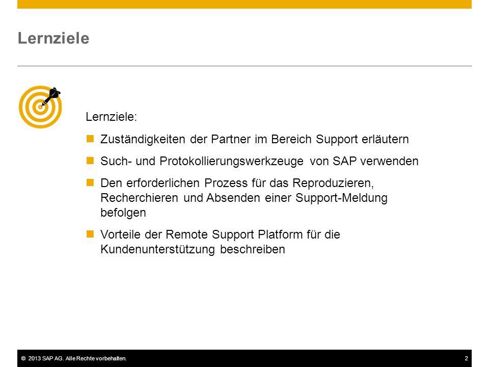 ©2013 SAP AG. Alle Rechte vorbehalten.2 Lernziele Lernziele: Zuständigkeiten der Partner im Bereich Support erläutern Such- und Protokollierungswerkze