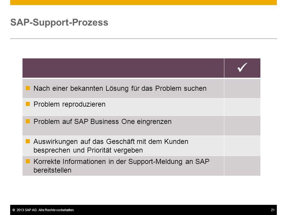 ©2013 SAP AG. Alle Rechte vorbehalten.21 SAP-Support-Prozess Nach einer bekannten Lösung für das Problem suchen Problem reproduzieren Problem auf SAP