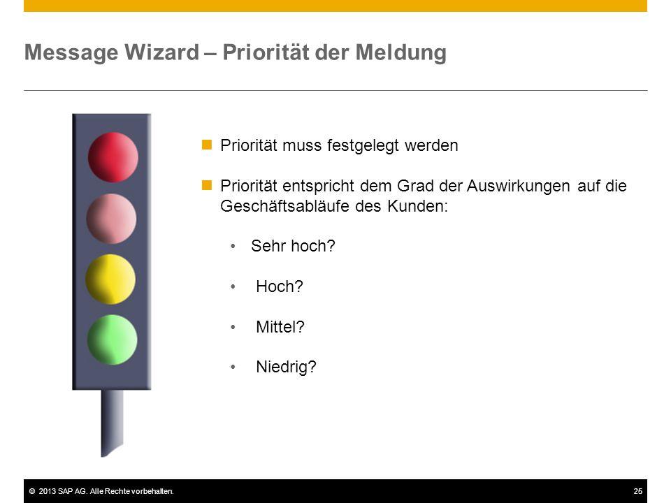 ©2013 SAP AG. Alle Rechte vorbehalten.25 Message Wizard – Priorität der Meldung Priorität muss festgelegt werden Priorität entspricht dem Grad der Aus
