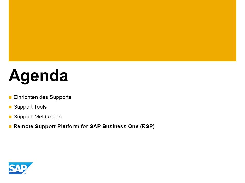 Agenda Einrichten des Supports Support Tools Support-Meldungen Remote Support Platform for SAP Business One (RSP)
