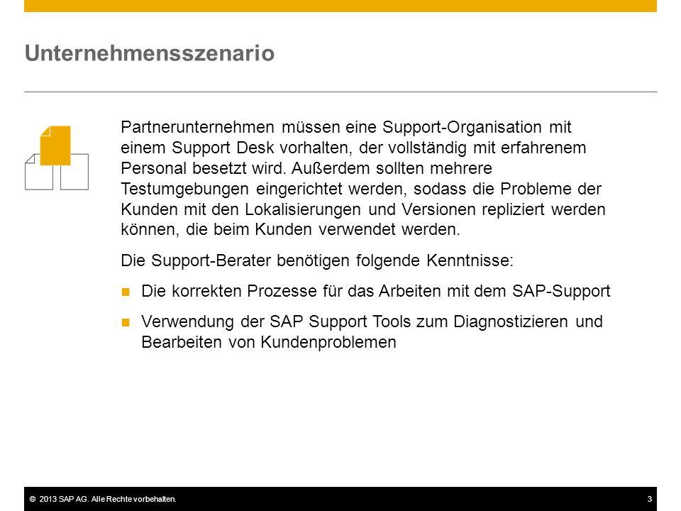 ©2013 SAP AG. Alle Rechte vorbehalten.3 Unternehmensszenario Partnerunternehmen müssen eine Support-Organisation mit einem Support Desk vorhalten, der