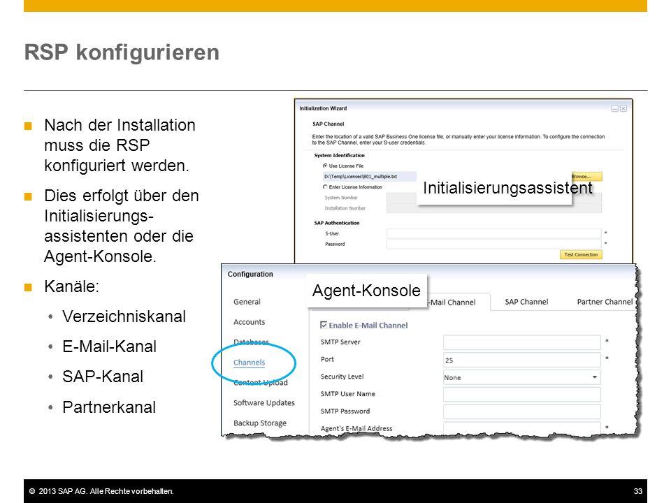 ©2013 SAP AG. Alle Rechte vorbehalten.33 RSP konfigurieren Nach der Installation muss die RSP konfiguriert werden. Dies erfolgt über den Initialisieru