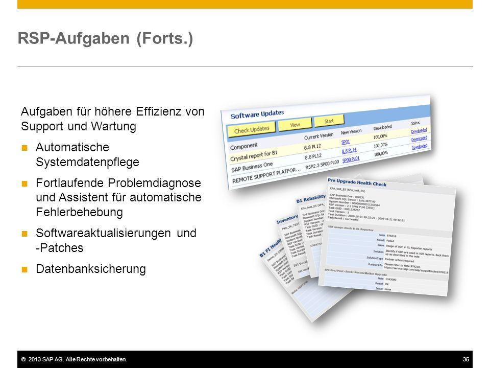©2013 SAP AG. Alle Rechte vorbehalten.35 RSP-Aufgaben (Forts.) Aufgaben für höhere Effizienz von Support und Wartung Automatische Systemdatenpflege Fo