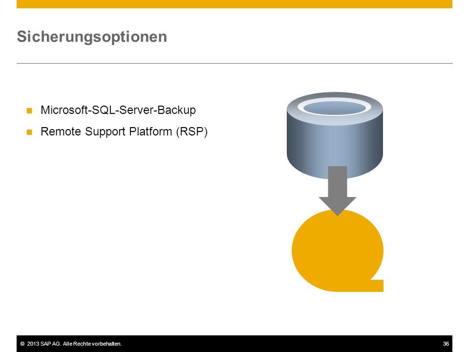 ©2013 SAP AG. Alle Rechte vorbehalten.36 Sicherungsoptionen Microsoft-SQL-Server-Backup Remote Support Platform (RSP)