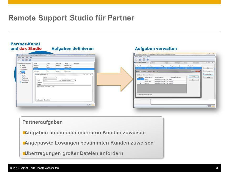 ©2013 SAP AG. Alle Rechte vorbehalten.39 Remote Support Studio für Partner Partner-Kanal und das Studio Partneraufgaben Aufgaben einem oder mehreren K