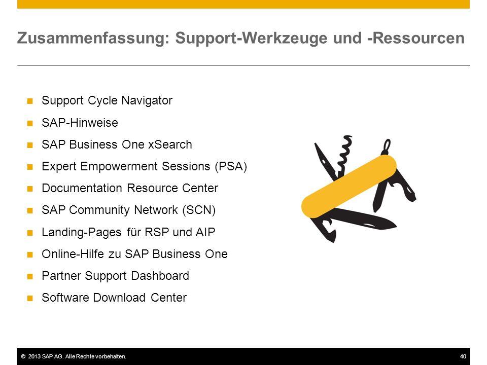 ©2013 SAP AG. Alle Rechte vorbehalten.40 Zusammenfassung: Support-Werkzeuge und -Ressourcen Support Cycle Navigator SAP-Hinweise SAP Business One xSea