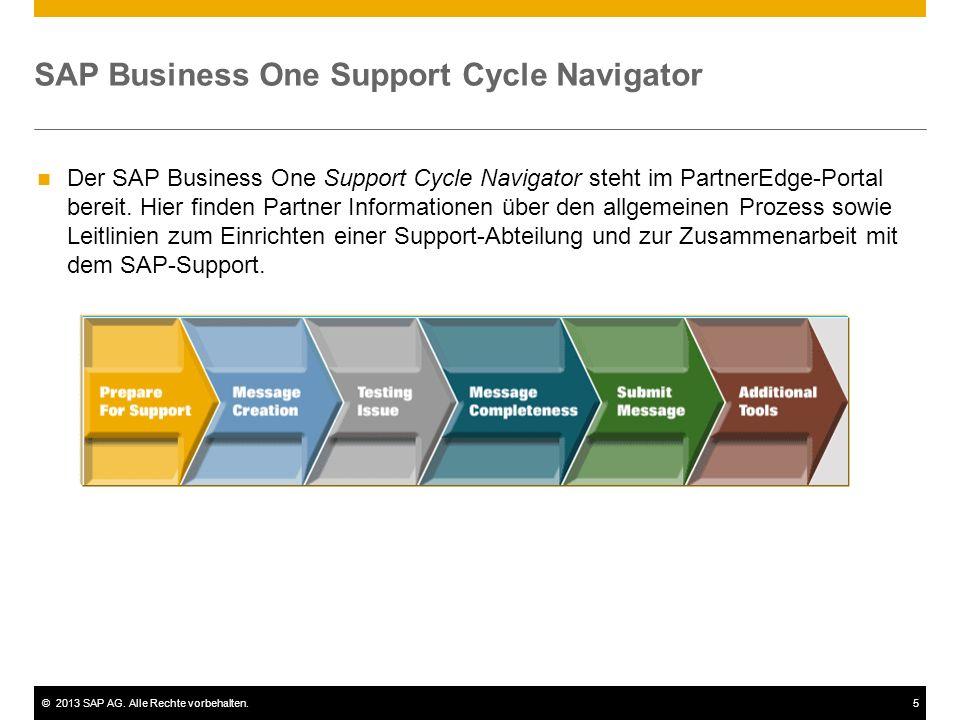 ©2013 SAP AG. Alle Rechte vorbehalten.5 SAP Business One Support Cycle Navigator Der SAP Business One Support Cycle Navigator steht im PartnerEdge-Por