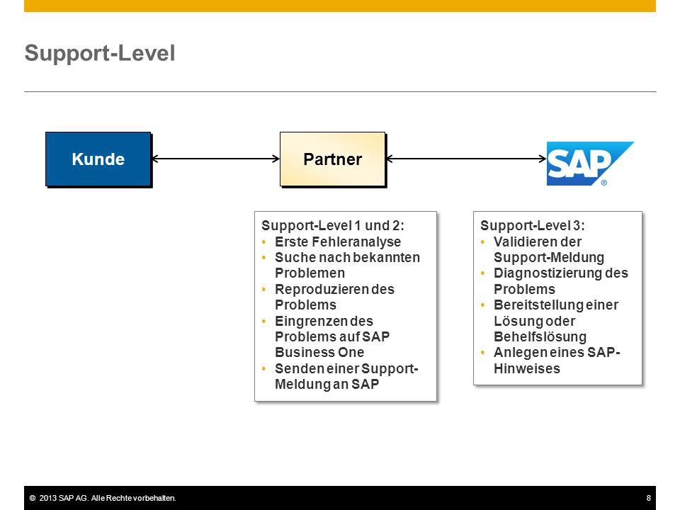 ©2013 SAP AG. Alle Rechte vorbehalten.8 Support-Level Kunde Support-Level 1 und 2: Erste Fehleranalyse Suche nach bekannten Problemen Reproduzieren de