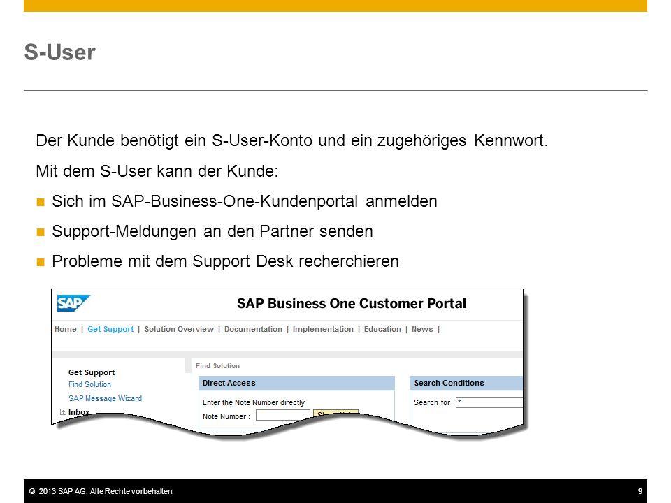 ©2013 SAP AG. Alle Rechte vorbehalten.9 S-User Der Kunde benötigt ein S-User-Konto und ein zugehöriges Kennwort. Mit dem S-User kann der Kunde: Sich i