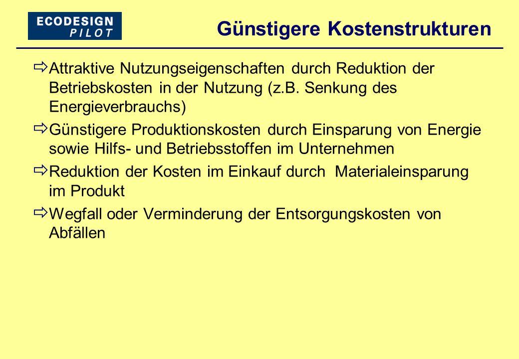 Günstigere Kostenstrukturen  Attraktive Nutzungseigenschaften durch Reduktion der Betriebskosten in der Nutzung (z.B. Senkung des Energieverbrauchs)