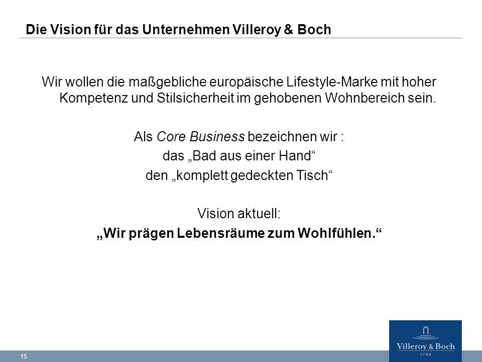 15 Die Vision für das Unternehmen Villeroy & Boch Wir wollen die maßgebliche europäische Lifestyle-Marke mit hoher Kompetenz und Stilsicherheit im geh