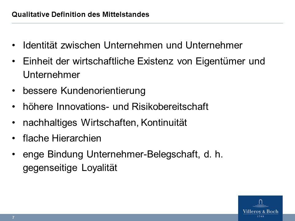 7 Qualitative Definition des Mittelstandes Identität zwischen Unternehmen und Unternehmer Einheit der wirtschaftliche Existenz von Eigentümer und Unte