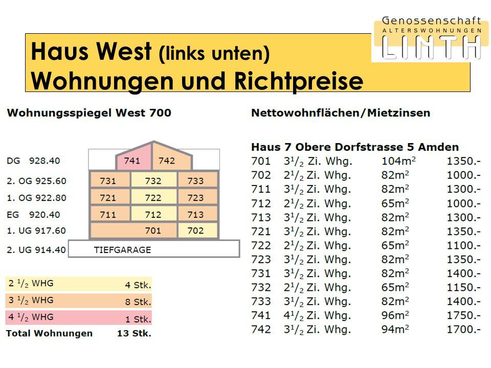 Haus West (links unten) Wohnungen und Richtpreise