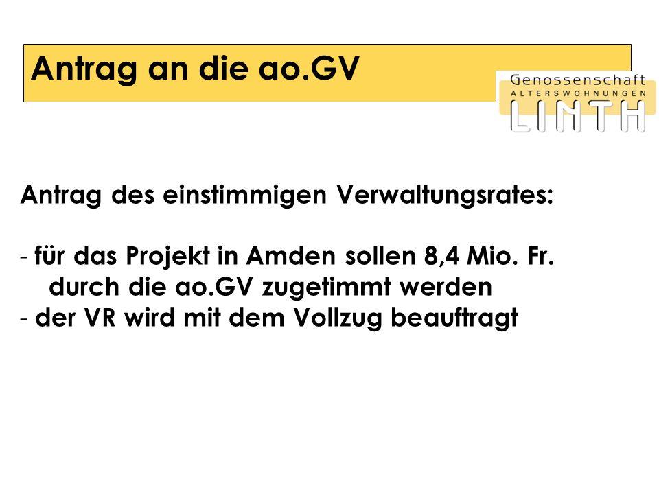 Antrag an die ao.GV Antrag des einstimmigen Verwaltungsrates: - für das Projekt in Amden sollen 8,4 Mio. Fr. durch die ao.GV zugetimmt werden - der VR