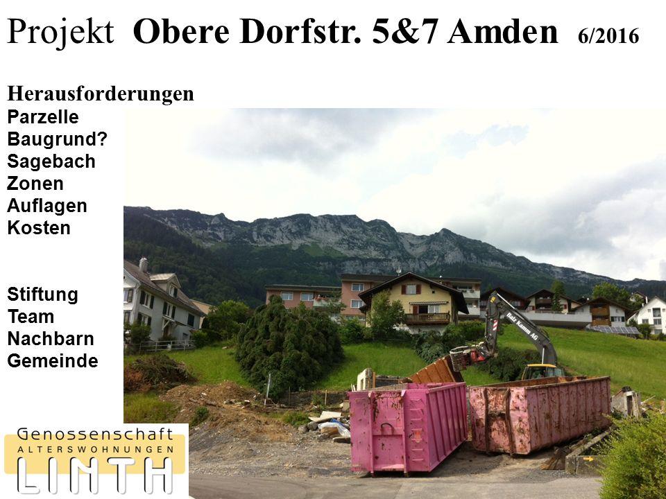 Projekt Obere Dorfstr. 5&7 Amden 6/2016 Herausforderungen Parzelle Baugrund? Sagebach Zonen Auflagen Kosten Stiftung Team Nachbarn Gemeinde