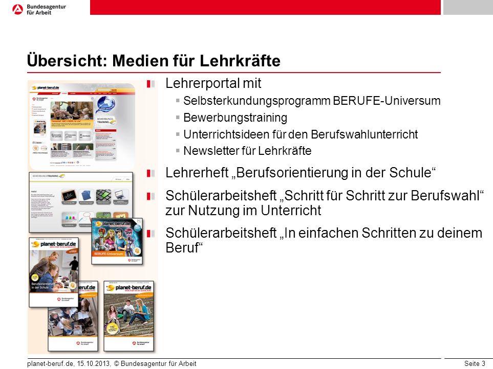 Seite 3 planet-beruf.de, 15.10.2013, © Bundesagentur für Arbeit Übersicht: Medien für Lehrkräfte Lehrerportal mit  Selbsterkundungsprogramm BERUFE-Un