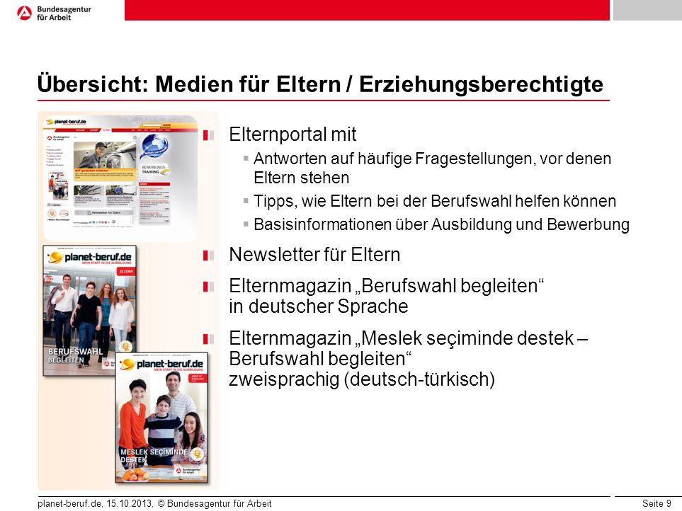 Seite 9 planet-beruf.de, 15.10.2013, © Bundesagentur für Arbeit Übersicht: Medien für Eltern / Erziehungsberechtigte Elternportal mit  Antworten auf