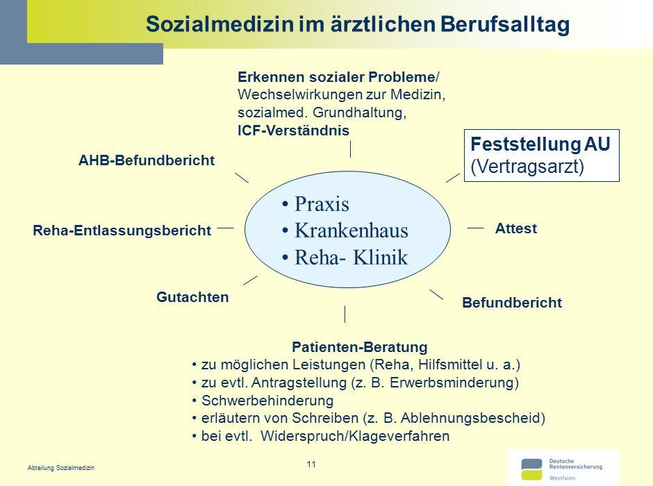 Abteilung Sozialmedizin 11 Sozialmedizin im ärztlichen Berufsalltag Praxis Krankenhaus Reha- Klinik AHB-Befundbericht Attest Gutachten Reha-Entlassung