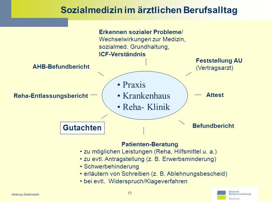 Abteilung Sozialmedizin 13 Sozialmedizin im ärztlichen Berufsalltag Praxis Krankenhaus Reha- Klinik AHB-Befundbericht Attest Gutachten Reha-Entlassung