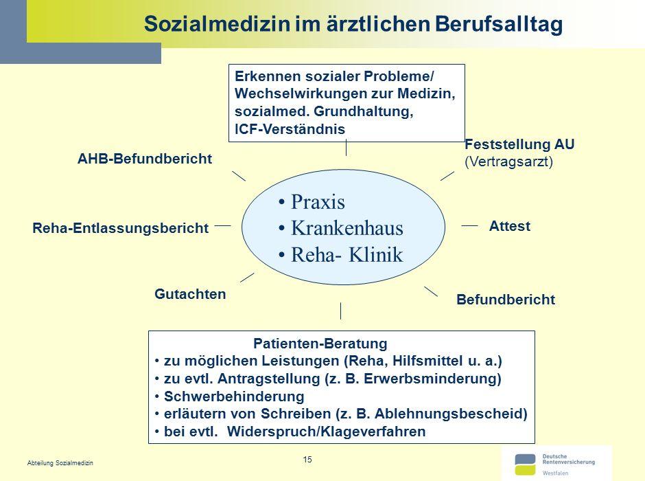 Abteilung Sozialmedizin 15 Sozialmedizin im ärztlichen Berufsalltag Praxis Krankenhaus Reha- Klinik AHB-Befundbericht Attest Gutachten Reha-Entlassung