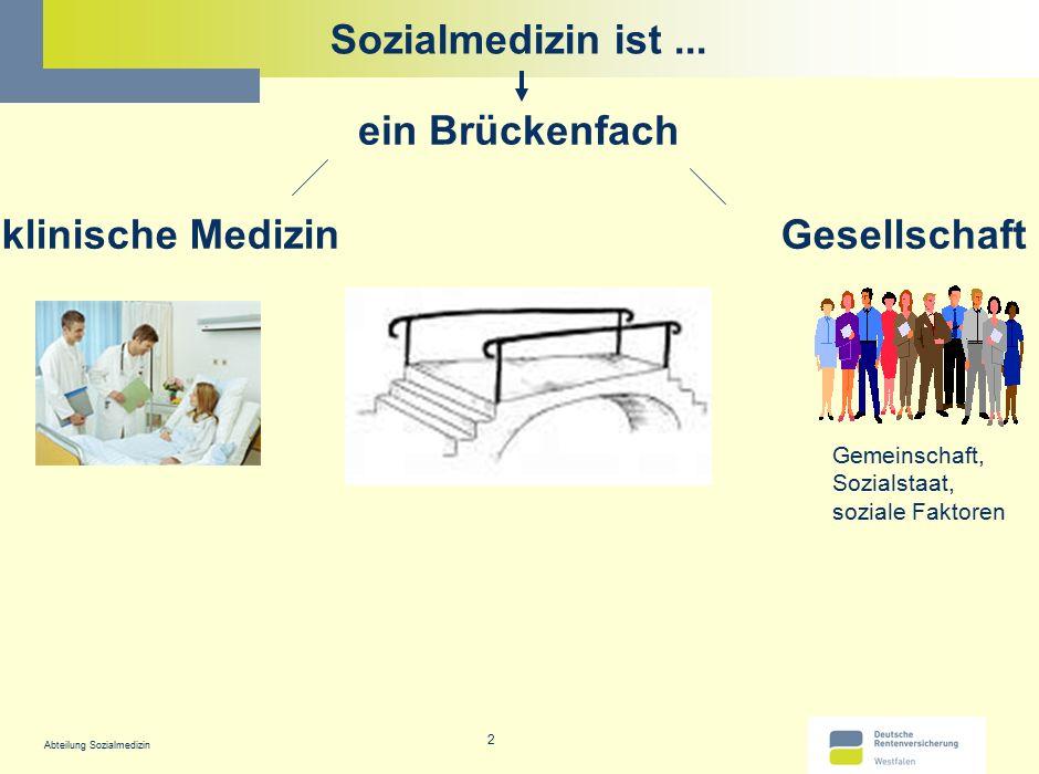 Abteilung Sozialmedizin 2 Sozialmedizin ist... ein Brückenfach klinische MedizinGesellschaft Gemeinschaft, Sozialstaat, soziale Faktoren