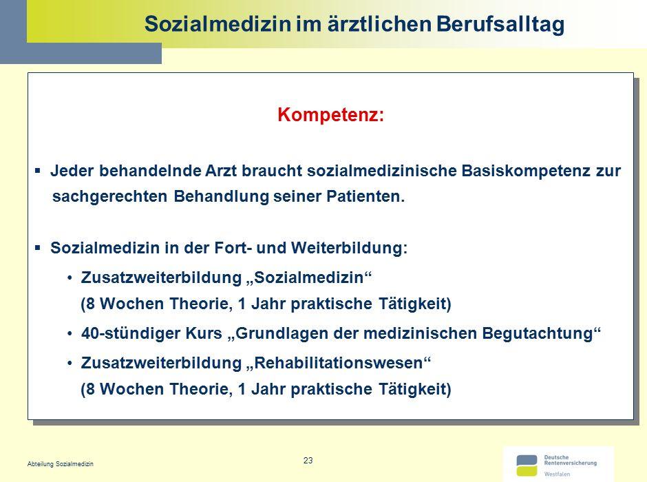Abteilung Sozialmedizin 23 Sozialmedizin im ärztlichen Berufsalltag Kompetenz:  Jeder behandelnde Arzt braucht sozialmedizinische Basiskompetenz zur