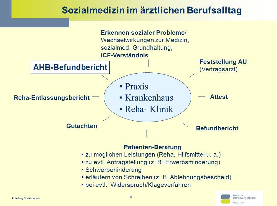 Abteilung Sozialmedizin 4 Sozialmedizin im ärztlichen Berufsalltag Praxis Krankenhaus Reha- Klinik AHB-Befundbericht Attest Gutachten Reha-Entlassungs