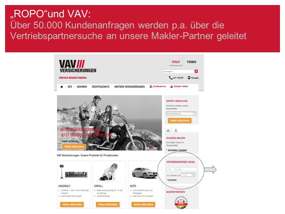 """""""ROPO""""und VAV: Über 50.000 Kundenanfragen werden p.a. über die Vertriebspartnersuche an unsere Makler-Partner geleitet"""