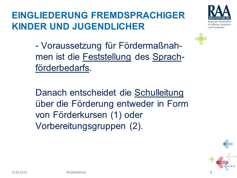 EINGLIEDERUNG FREMDSPRACHIGER KINDER UND JUGENDLICHER Fördermöglichkeiten (Varianten) 1.