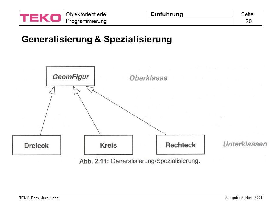 Seite 20 Objektorientierte Programmierung TEKO Bern, Jürg Hess Ausgabe 2, Nov.
