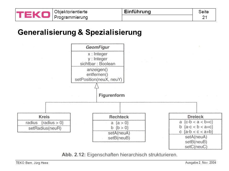 Seite 21 Objektorientierte Programmierung TEKO Bern, Jürg Hess Ausgabe 2, Nov.