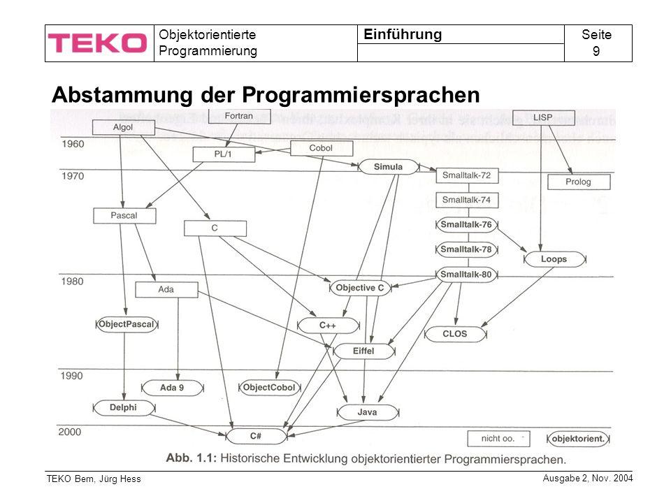 Seite 9 Objektorientierte Programmierung TEKO Bern, Jürg Hess Ausgabe 2, Nov.