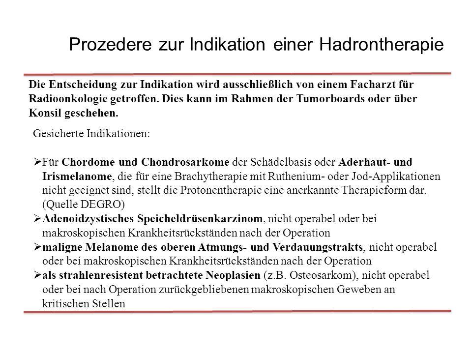 Prozedere zur Indikation einer Hadrontherapie Die Entscheidung zur Indikation wird ausschließlich von einem Facharzt für Radioonkologie getroffen. Die